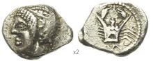 MASSALIA - Obole argent au crabe avec la lettre M.