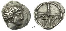 MASSALIA - Un autre exemplaire: Obole argent à la tête d?Apollon à dr. avec