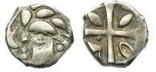 VOLQUES TECTOSAGES-TOULOUSE - Drachme argent de « style cubiste » aux dauphins et