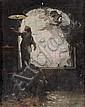 Edouard John E. RAVEL (1847-1920)    A l'aube les illusions s'enfuient.    Huile sur panneau.    Cachet de la vente Ravel en 1920 au dos.    36 x 28,5 cm., Edouard Ravel, Click for value