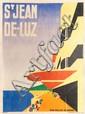ROBERT MALLET-STEVENS (1886-1945) Saint-Jean de Luz. Affiche lithographique en couleurs éditée par l'Imprimerie Chachoin à Paris en 1928. Signée en bas à droite. H. : 157 cm. L. : 115 cm. Un exemplaire présent au Musée des Années 30 à