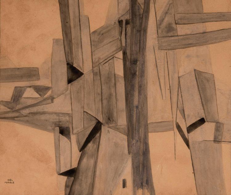 FELIX DEL MARLE (FRA/1889-1952) Composition, ca. 1920 Lavis d encre sur papier 25 x 30 cm (a vue)