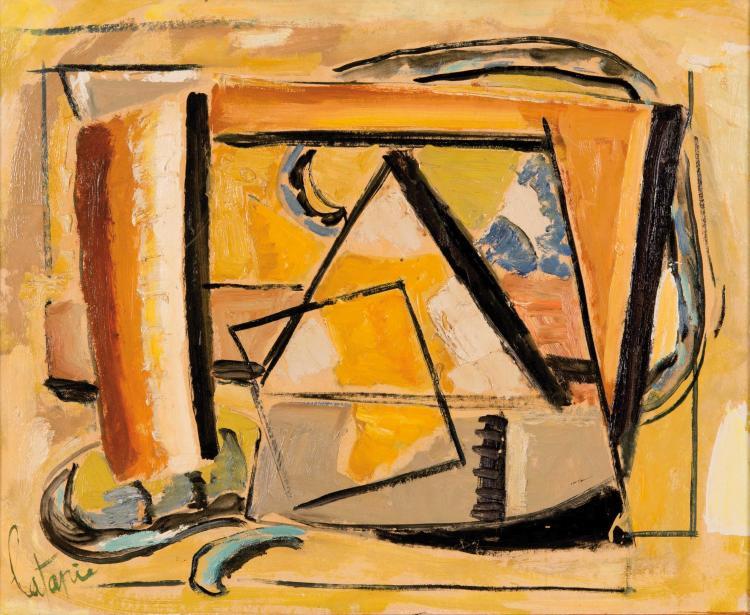 LOUIS LATAPIE (FRA/1891-1972) Composition sur fond jaune, ca. 1950 Huile sur toile 50 x 60 cm Signee en bas a gauche Oil on canvas 19 3/4 x 23 5/8 in Signed in the bottom left corner