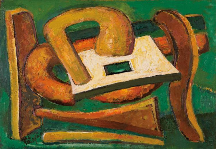 LOUIS LATAPIE (FRA/1891-1972) Composition, 1957 Huile sur panneau 44 x 63 cm Signe en bas a gauche Oil on panel 17 3/8 x 24 3/4 in Signed in the bottom left corner