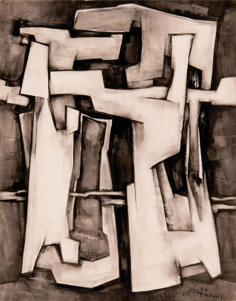 ROGER DESSERPRIT (FRA/1923-1985) Abstraction geometrique, 1959 Lavis d encre sur papier 65 x 50 cm Signe et date en bas a droite Ink wash on paper 25 5/8 x 19 3/4 in Signed and dated in the bottom right corner