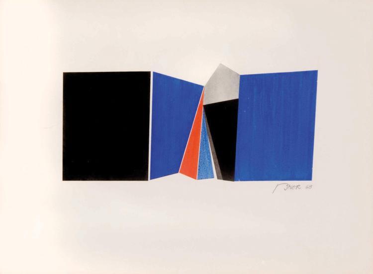 JEAN BAIER (CHE/1932-1999) Composition geometrique, 1968 Gouache et aquarelle sur papier 26 x 35 cm (a vue)
