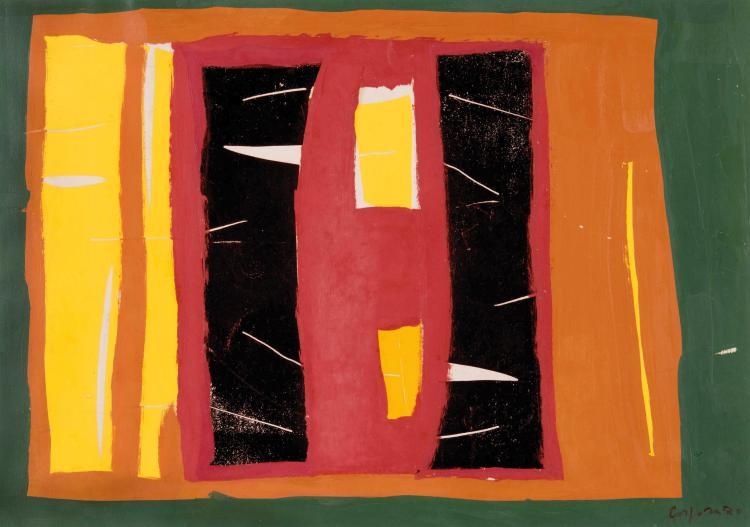 ANTONIO CORPORA (ITA/1909-2004) Sans titre, 1970 Gouache sur papier 48 x 70 cm Signe et date en bas a droite Gouache on paper 18 7/8 x 27 1/2 in Signed and dated in the bottom right corner