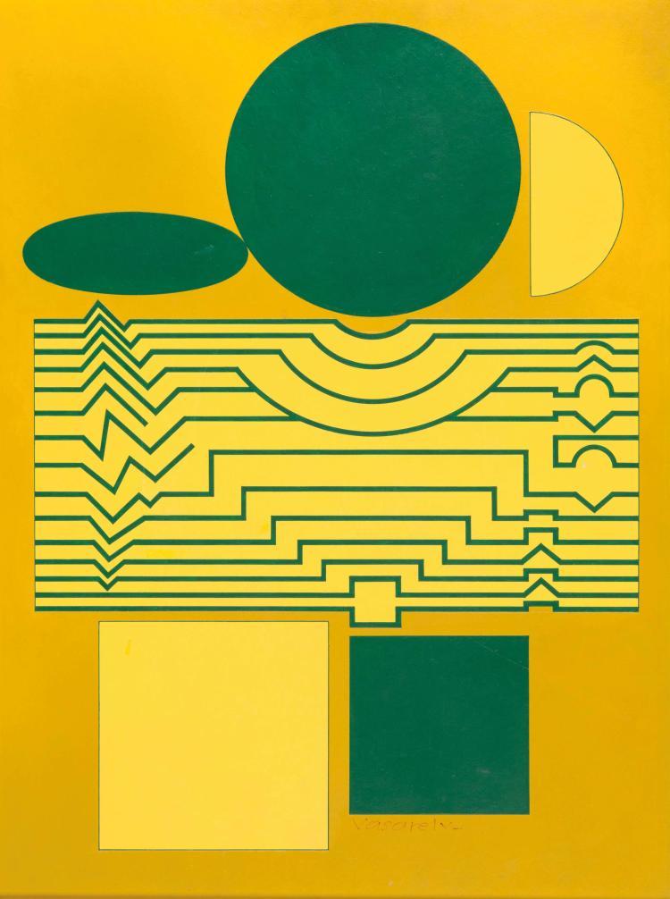 VICTOR VASARELY (FRA/1906-1997) Anadin, 1960 - 1987 Tempera sur carton contrecolle sur panneau