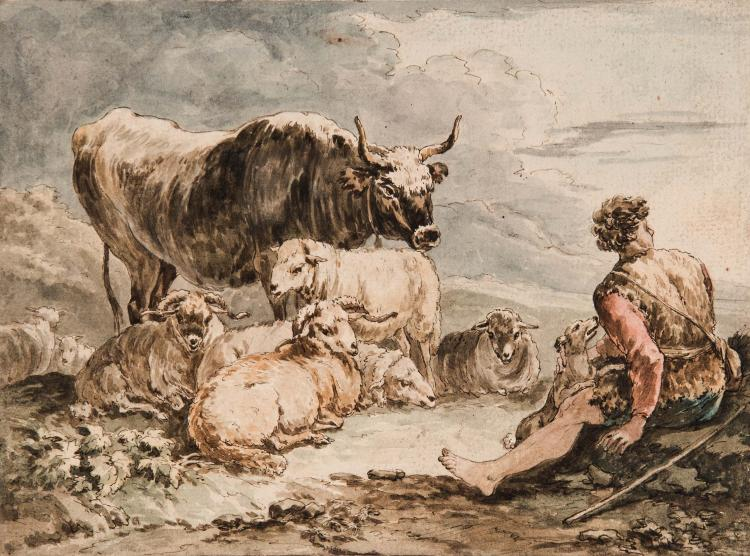 Attribue a JEAN – BAPTISTE HUET (1745 – 1811) Berger et son troupeau Plume et encre noire, aquarelle 15 x 20 cm PEN; BLACK INK; WATERCOLOR; 6 X 7 1/8 IN.