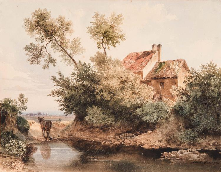 JEAN ANTOINE SIMEON FORT (Valence 1793 – Paris 1861) La ferme au bord de l eau Aquarelle 19,8 x 25 cm Signe en bas a droite Simeon Fort SIGNED LOWER RIGHT: SIMEON FORT; WATERCOLOR; 7 3/4 X 9 3/4 IN
