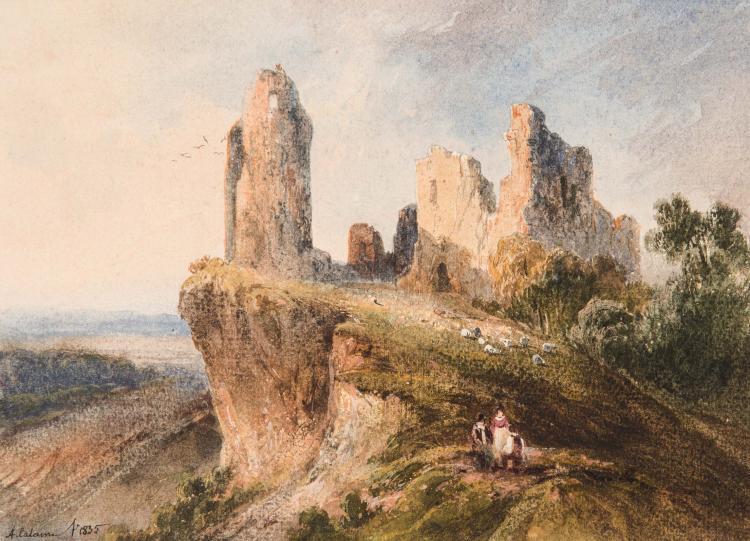 ALEXANDRE CALAME (Corsier sur Vevey 1810 – 1864 Menton) Promeneurs pres des ruines d un chateau Aquarelle 14,5 x 20 cm Signe et date en bas a gauche A. Calame f. 1835 SIGNED AND DATED LOWER RIGHT: A. CALAME F. 1835; WATERCOLOR; 5 11/16 X 8 IN