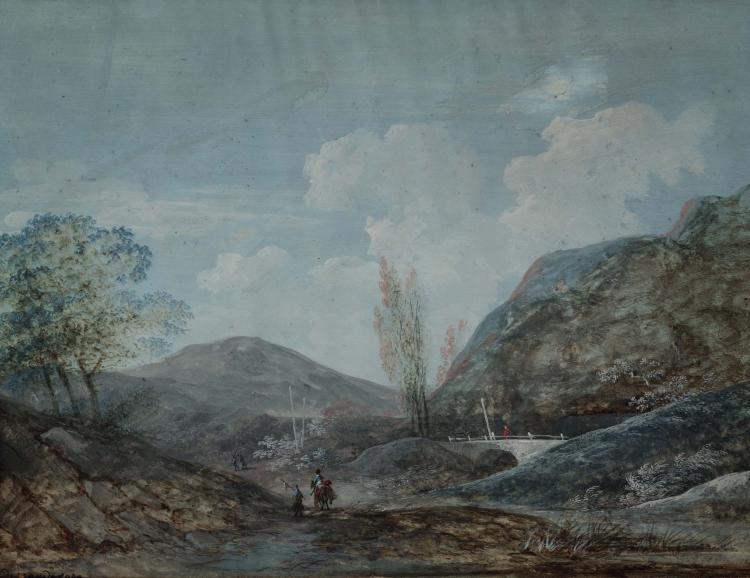 ALPHONSE MANDEVARE (vers 1773 - 1829) Soldats dans la montagne Gouache 23 x 30 cm GOUACHE; 9 X 11.3/4 IN