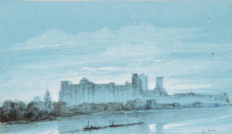 EDOUARD AUGUSTE IMER (Avignon 1820 – Haarlem 1881) Vue d Avignon depuis l ile de la Barthelasse Aquarelle 5,2 x 9,6 cm Signe en bas a droite E. Imer SIGNED LOWER RIGHT : E. IMER; WATERCOLOR; 2 X 3 3/4 IN