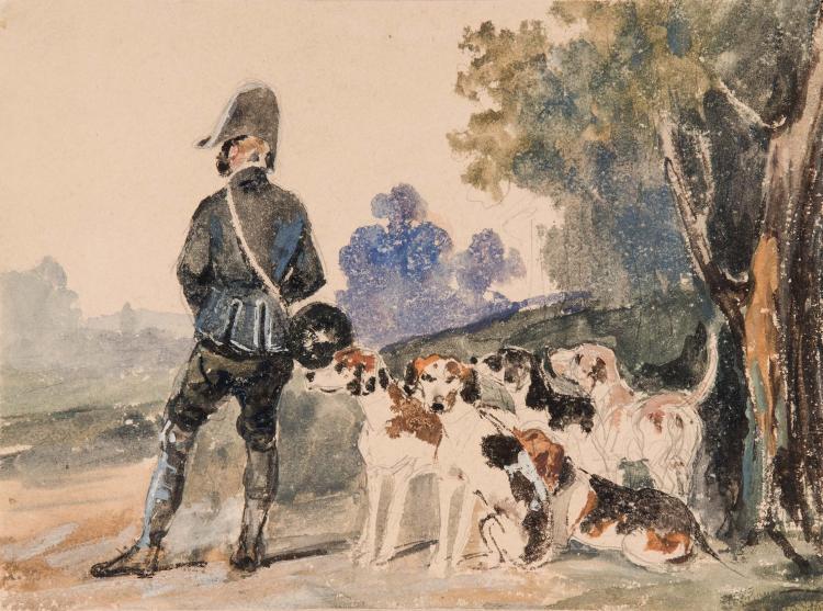 Ecole FRANCAISE du XIXeme siecle Un valet de chiens et son relais Aquarelle sur traits de crayon noir 17,5 x 23,5 cm WATERCOLOR; BLACK PENCIL; 6 ¾ X 9 1/4 IN.