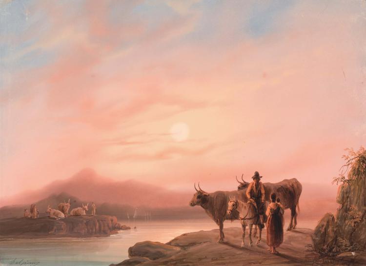 DELPINY (Actif au XIXeme siecle) Famille de bergers et troupeau au couchant du soleil Aquarelle 20,7 x 28,7 cm Signe en bas a gauche Delpiny SIGNED LOWER LEFT: DELPINY; WATERCOLOR; 8 1/8 X 11¼ IN