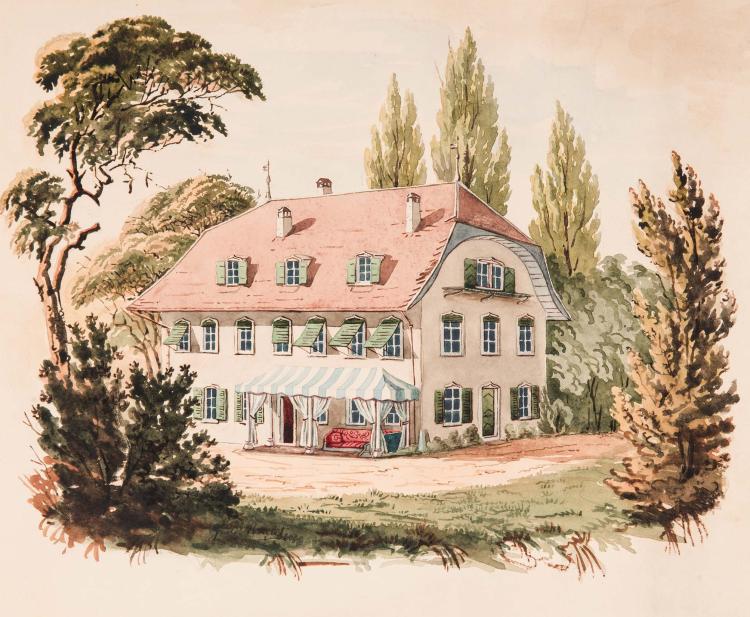 G. DE ROULET (Actif au XXeme siecle) Villa a l auvent de toile rayee Aquarelle 22 x 26,5 cm Signe en bas vers la gauche G. de. Roulet SIGNED LOWER LEFT: G. DE. ROULET; WATERCOLOR; 8 5/8 X 10 2/5 IN