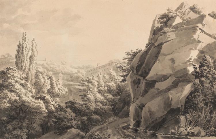 JEAN ANTOINE CONSTANTIN D AIX (Marseille 1756 – Aix en Provence 1844) Paysage aux rochers Plume et encre noire, lavis noir et gris 27,5 x 41,5 cm PEN AND BLACK INK, BLACK AND GREY INK WASH; 10.7/8 X 16.3/8 IN