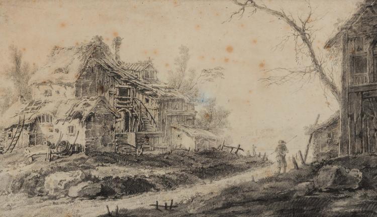 Attribue a JEAN PILLEMENT (1728 – 1808) La vieille ferme Pierre noire 18,5 x 32 cm BLACK CHALK; 7.1/4 X 12.5/8 IN
