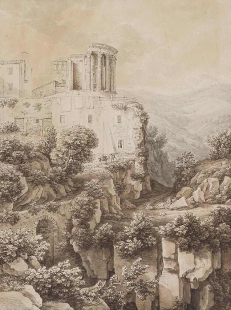ANTOINE FELIX BOISSELIER (Damphal 1776 – Rome 1811) Bergers pres du Temple de Vesta a Tivoli Plume et encre noire, lavis brun et gris 47 x 34,5 cm Nous pouvons rapprocher notre dessin d un tableau attribue a Felix Boisselier, Lavandieres pres du temple de Vesta, passe