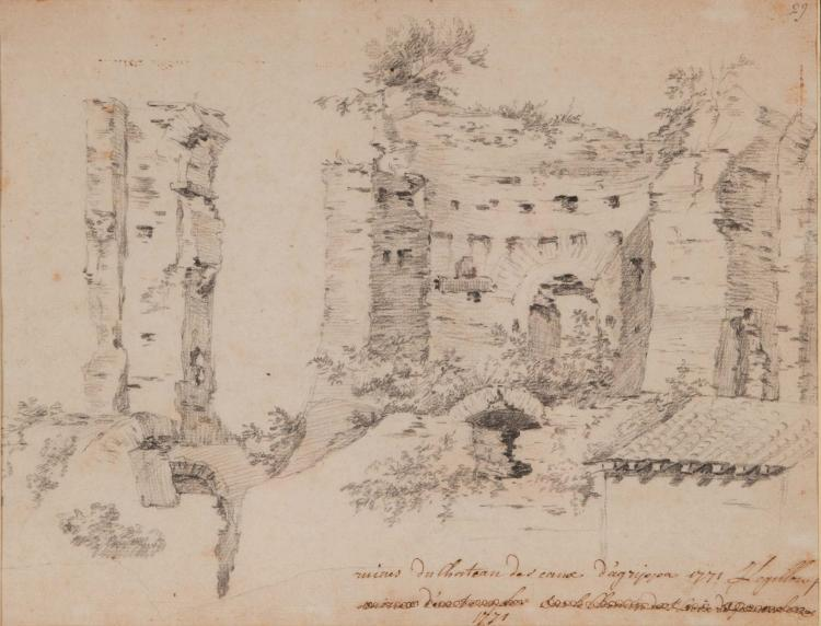JEAN FRANCOIS LEGILLON (1739-1797) Ruines des thermes d Agrippa Pierre noire Signe et date en bas a droite 19 x 24,5 cm SIGNED AND DATED LOWER RIGHT; BLACK CHALK; 7.1/2 X 9.5/8 IN
