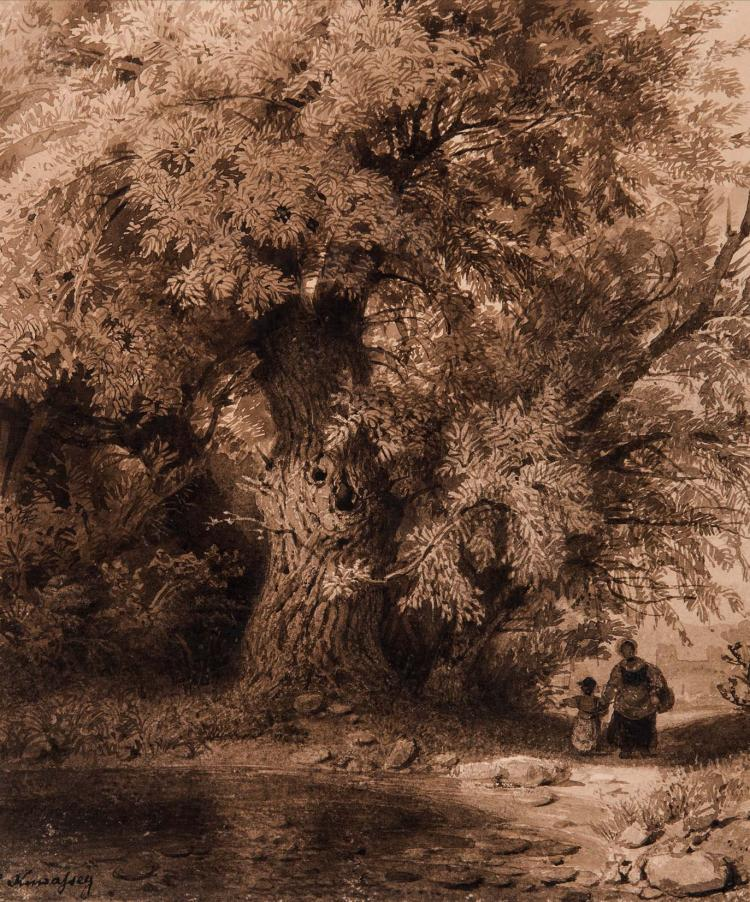 CARL JOSEPH KUWASSEG (Trieste 1802 – Nanterre 1877) Jeune mere et sa fille sous un arbre au bord de l eau Lavis brun 23,2 x 19,2 cm Signe en bas a gauche C. Kuwasseg SIGNED LOWER LEFT: C. KUWASSEG; BROWN WASH; 9 1/ X 7 1/2 IN