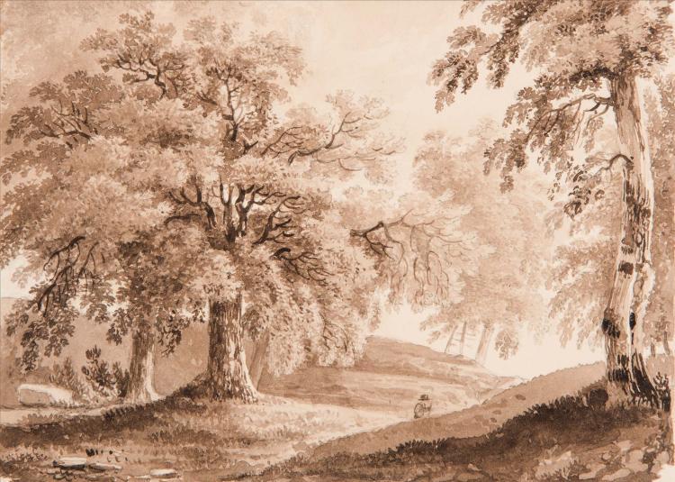 Attribue a FRANCOIS LOUIS THOMAS FRANCIA (1772 - 1839) Berger pres d une riviere, un village au loin Lavis brun 21 x 32 cm Porte en bas a gauche des traces de signature F… TRACE OF SIGNATURE: F…; BROWN WASH; 8 1/4 X 12 1/2 IN