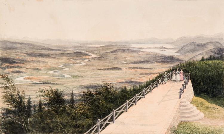 Ecole FRANCAISE vers 1830 Promeneurs sur une terrasse, regardant la campagne Aquarelle 16,5 x 27,8 cm WATERCOLOR; 6 1/2 X 11 IN