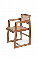 PIERRE JEANERET (1896-1967) Fauteuil dit Cane seat cane back office chair. Teck, moelle de rotin. 74 x 51 x 51 cm. Circa 1960. Provenance : Chandigarh, Inde. Bibliographie : - Gérald Moreau & Eric Touchaleaume, Le Corbusier Pierre Jeanneret