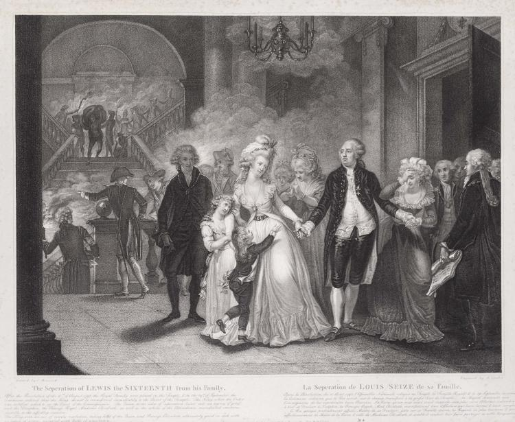 Reunion de diverses gravures au pointille, dont certaines d' apres Charles BENAZECH, Pierre BOUILLON : Frederic CAZENAVE, Louis XVI avec son confesseur Edgeworth un instant avant sa mort (1795) ; Jugement de Marie Antoinette d' Autriche, au tribunal revolutionnaire (1794). Luigi SCHIAVONETTI, The Princess Elisabeth taken from the Conciergerie (1793) ; The Separation of Lewis the Sixteenth from his family, in the Temple.