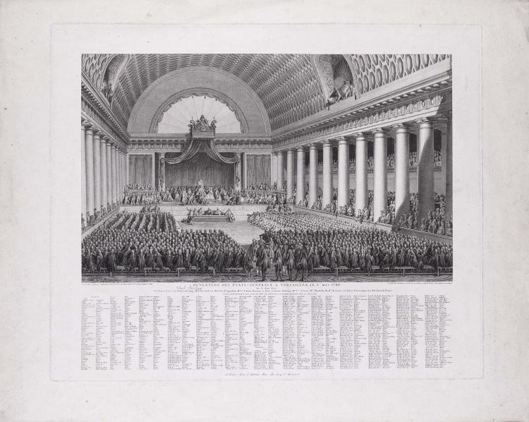Jean-Michel MOREAU le Jeune. Ouverture des Etats generaux a Versailles le 5 mai 1789 ; Constitution de l' Assemblee Nationale et serment des deputes qui la composent a Versailles le 17 juin 1789.