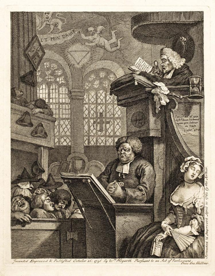 William HOGARTH. Les fideles endormis.