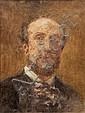 Fernand CORMON (1845-1924)  Autoportrait.  Huile sur toile. Signée en bas à gauche.  32 x 24 cm.