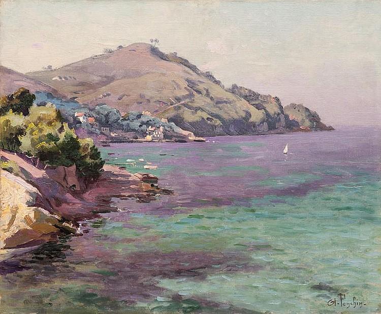 Antoine PONCHIN (1872-1934)  La rade de Saint-Cyr-sur-mer.  Huile sur toile. Signée en bas à droite.  46 x 55 cm.