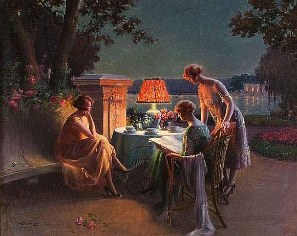 Delphin ENJOLRAS (1857-1945) - Trois femmes sur la