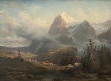 François DIDAY (1802-1877) Chalets dans la montagne en Suisse. 1848. Huile sur toile.