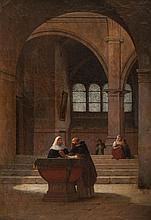 Guillaume Frédéric RONMY (1786-1854) Conversation dans le baptistère. Huile sur toile.