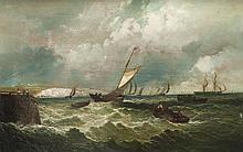 Wilhelm Leopold Christ. KRAUSE (1803-1864)  Bâteaux en mer.