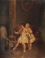 Georges CHONÉ (1819-?) Jeunes filles dans un intérieur. Huile sur toile.