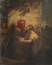 Hughes MERLE (1832-1881) Confidences. Huile sur toile.