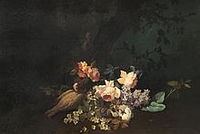 Jean-Baptiste BAUDIN (?-1922) Nature morte aux colombes. Huile sur panneau.