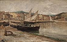 Louis APPIAN (1862-1896) Barques sur la plage à Collioure. Huile sur toile.