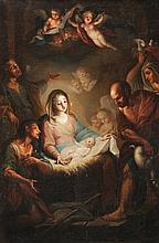 Ecole napolitaine du début du XVIIIème siècle, entourage de Francesco de MURA L'Adoration des bergers.