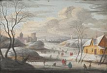 Henri Désiré van BLARENBERGHE (1734-1812), attribué à Scène de patinage sur une rivière gelée. Gouache.