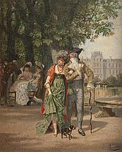 Léon Joseph VOIRIN (1833-1887) Promenade au jardin des Tuileries. Huile sur toile marouflée sur carton.
