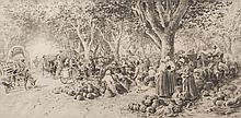 Joseph CABASSON (1841-1920) Le marché aux melons. 1898. Fusain et mine de plomb.