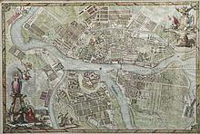 John TRUSCOTT Plan gravé de Saint-Petersbourg. Assemblage de 9 feuilles aquarellées.