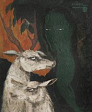 Naondo NAKAMURA (1905-1981) La jeune femme, le cerf et la biche. Huile sur toile.