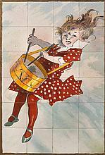 SARREGUEMINES   Panneau en céramique polychrome à décor d'une enfant jouant du tambourin.   H. : 93 cm. L. : 62 cm.