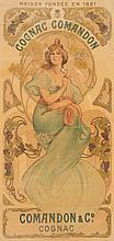TRAVAIL VERS 1900   Cognac Comandon.   Affiche lithographique entoilée.