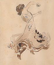 RENÉ PREJALAN (1877-168)   Danseuse de flamenco.   Aquarelle.